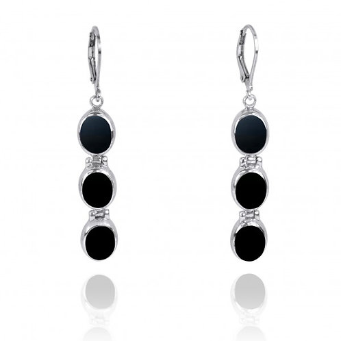 [NEA3059-BKON] Triple Oval Black Onyx Sterling Silver Lever Back Earrings