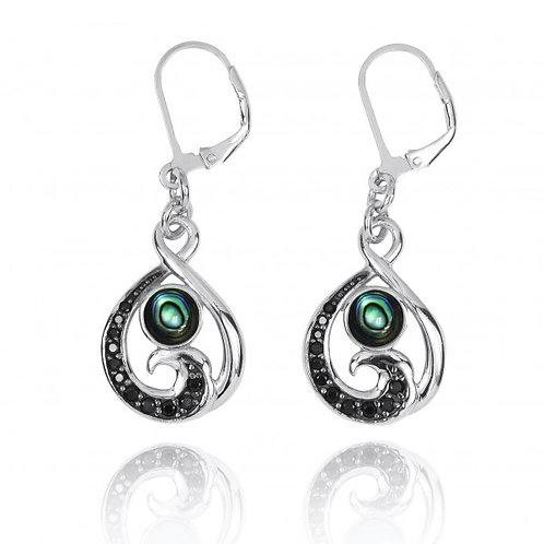 [NEA3322-ABL-BKSP] Black Spinel Wave and Round Abalon shell Sterling Silver Leve