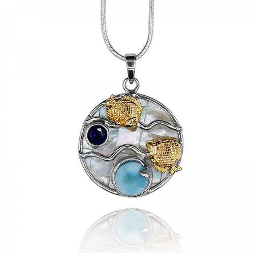 [KPG16-LAR-LAP] Round shape Larimar stone , Lapis Lazuli ,fish couple , mother o