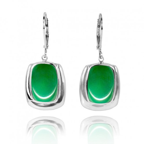 [NEA3086-CRP] Cushion Shape Chrysoprase Lobster Clasp Earrings