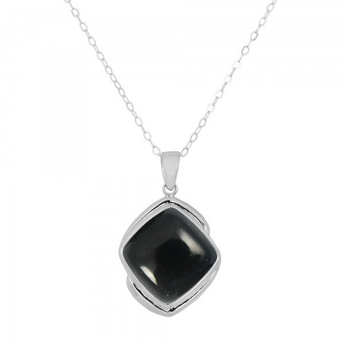 [NP9806-BKON] Cushion Shape Black Onyx Pendant