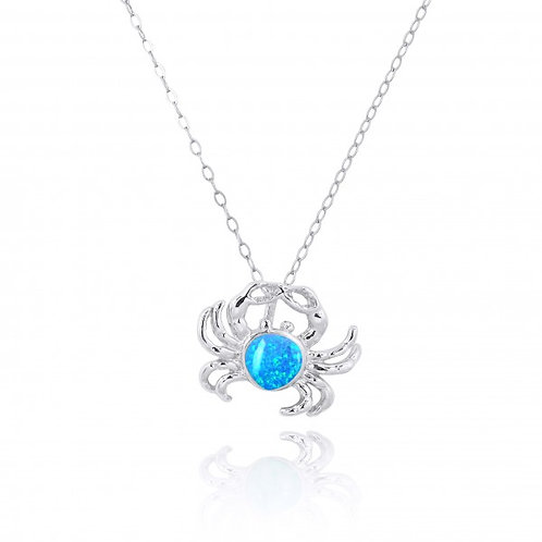 [NP10923-BLOP] Sterling Silver Crab Pendant with Blue Opal