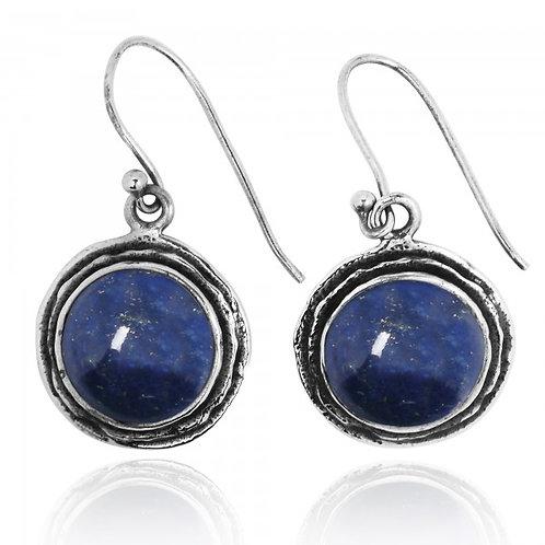 [NEA1968-LAP] Lapis Sterling Silver Drop Earrings