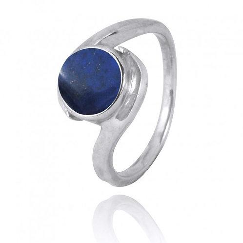 [NRB1002-LAP] Round Shape Lapis Gemstone Ring
