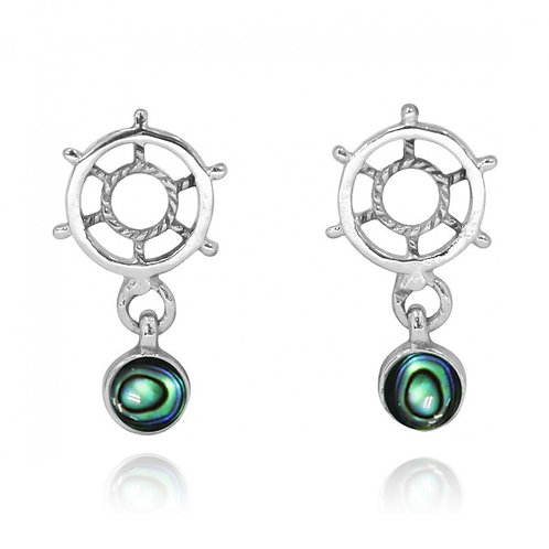 [NES3724-ABL] Sterling Silver Ship's Wheel Stud Earrings with Round Abalon