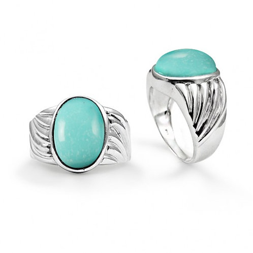 [NRB6704-GRTQ] Heart Shape Compressed Turquoise Cocktail Ring