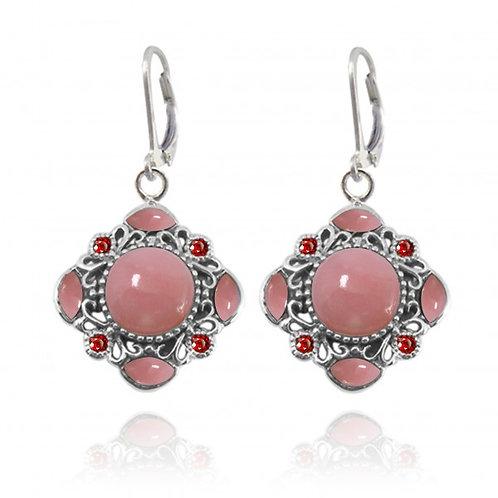 [NEA3085-PPKOP-GAR] Round Shape Peru Pink Opal Cuffs Earrings