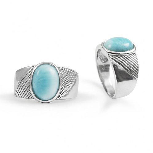 [NRB6796-LAR] Round Shape Larimar Gemstone Ring
