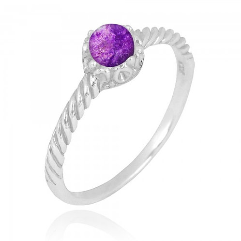 [NRB7355-SUG] Round Shape Sugilite Solitaire Ring
