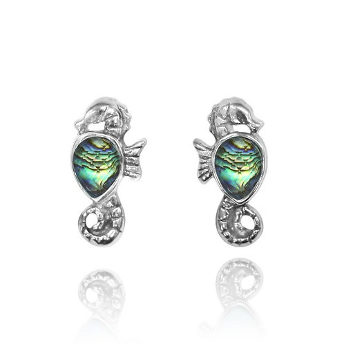 [NES3698-ABL] Sterling Silver Seahorse Stud Earrings with Pear Shape Abalon shel