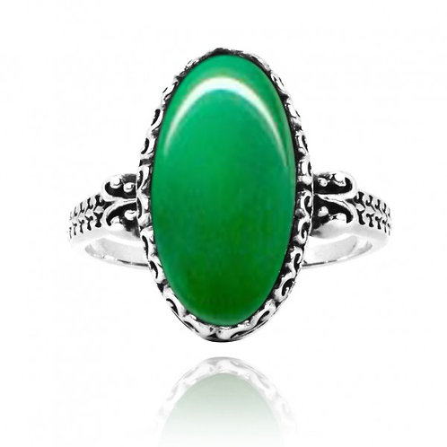 [NRB5213-CRP] Oval Shape Chrysoprase Solitaire Ring