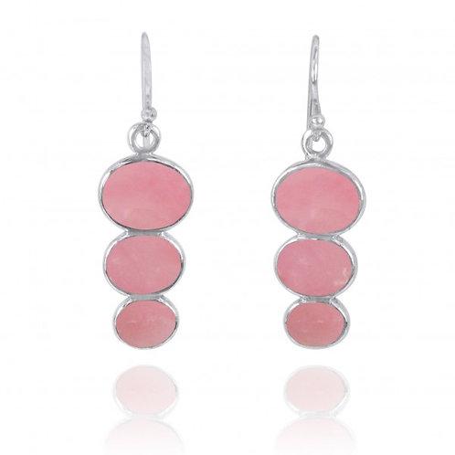 [NEA0331-PPKOP] Triple Oval Peru pink opal Sterling Silver Drop Earrings
