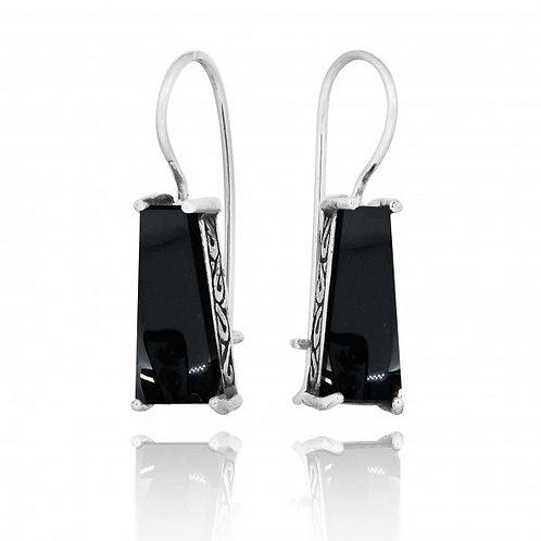 [NEA1496-BKON] Trapezoid Shape Black Onyx Lever Back Earrings