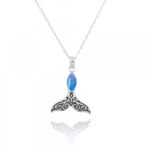 [NP11319-BLOP] Sterling Silver Whale Tail Penant with Marquise Blue Opal