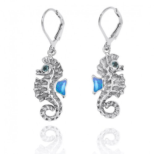 [NEA3141-BLOP-LBLT] Sterling Silver Seahorse Lobster Clasp Earrings with Blue Op