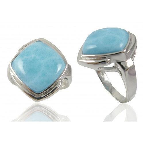 [NRB6809-LAR] Cushion Shape Larimar Gemstone Ring
