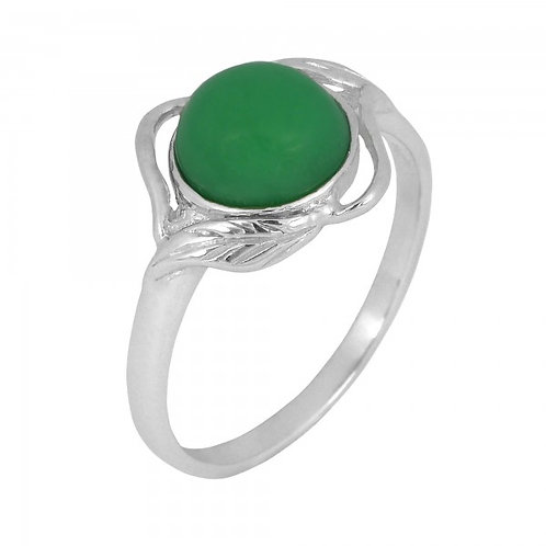 [NRB7481-CRP] Sterling Silver Chrysoprase Ring with Leaf Patterns