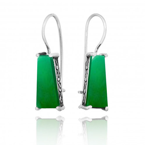 [NEA1496-CRP] Trapezoid Shape Chrysoprase Lever Back Earrings