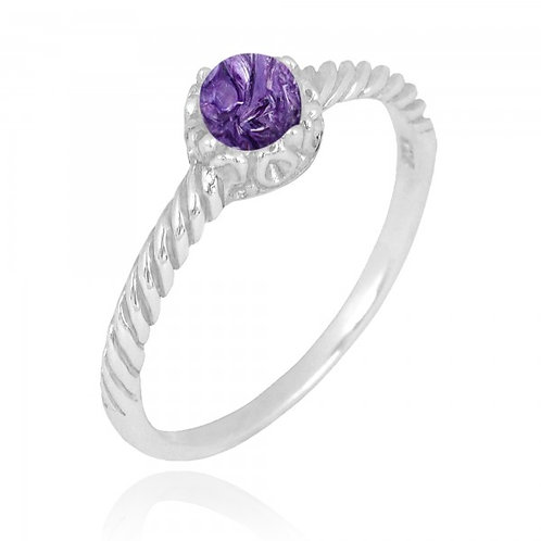[NRB7355-CHR] Round Shape Charoite Solitaire Ring