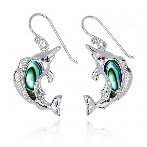 [NEA3248-ABL-BKCZ] Sterling Silver Swordfish Earrings with Abalon shell