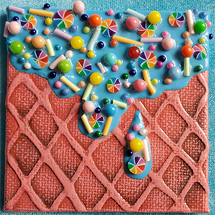 Square Fridge Magnet with Light Blue Dip and Rainbow Pinwheel Chips
