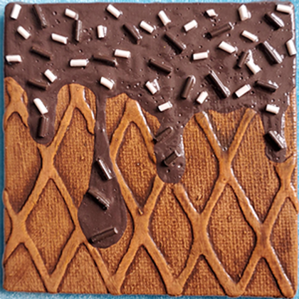 Square Fridge Magnet with Chocolate Dip and Chocolate Sprinkles