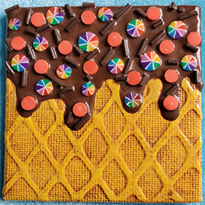Square Fridge Magnet with Chocolate Dip and Rainbow Pinwheel Chips