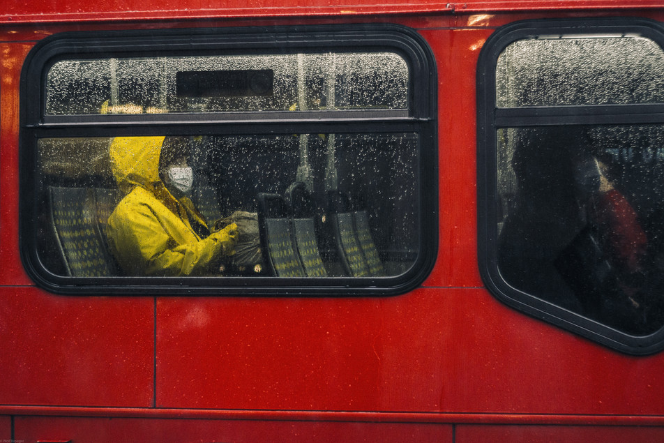 Scenes-The yellow raincoat riding the re