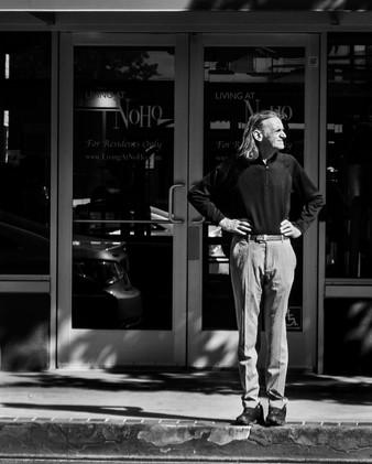 Man and his shadow waiting