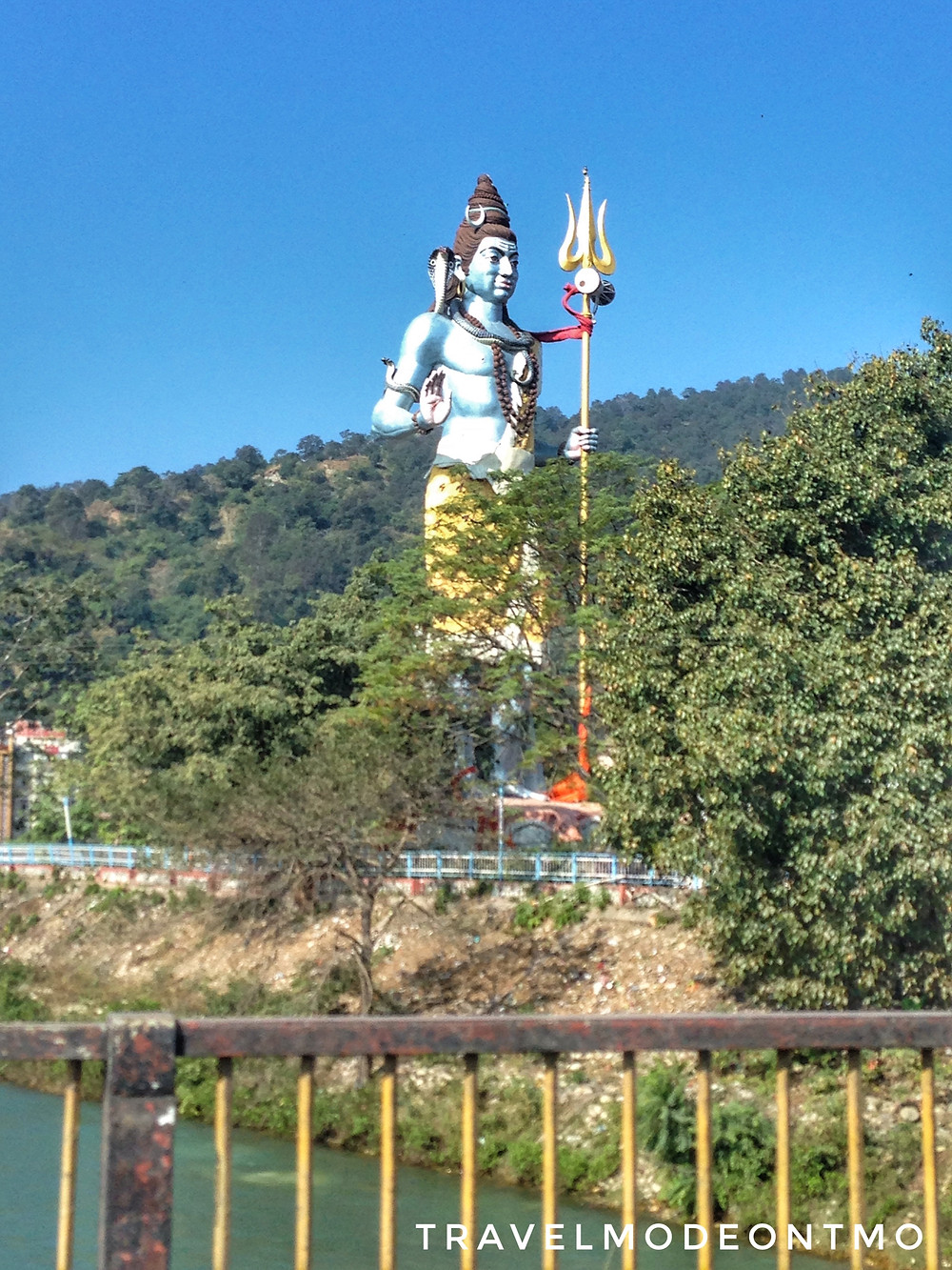 100 feet high statue of Shivaji along the bank of Holy River Ganges