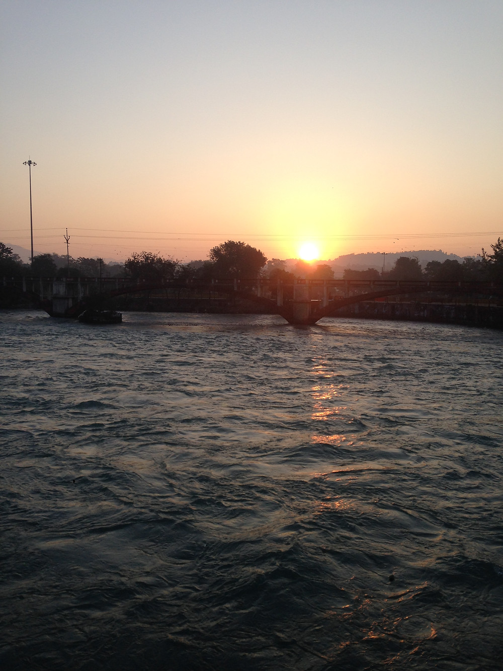 Sunrise over the holy river Ganges.