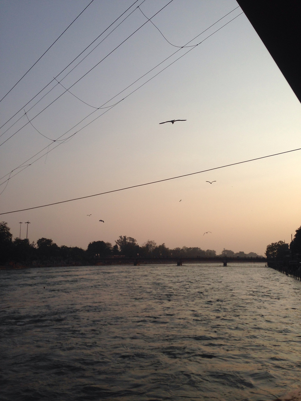 Sunset over the holy river Ganges.