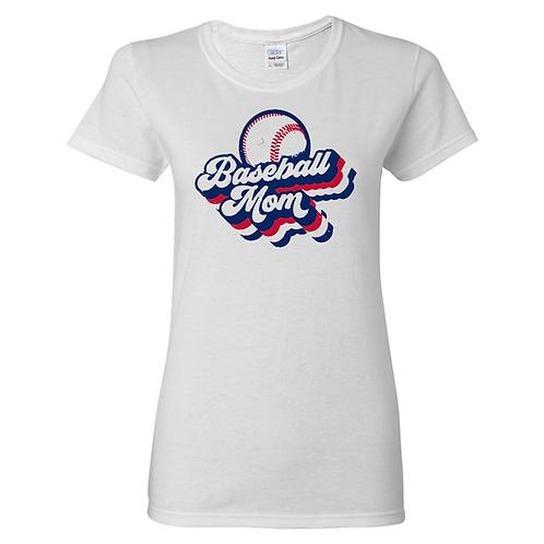 Retro 'Baseball Mom' Vintage Print Soft Tee