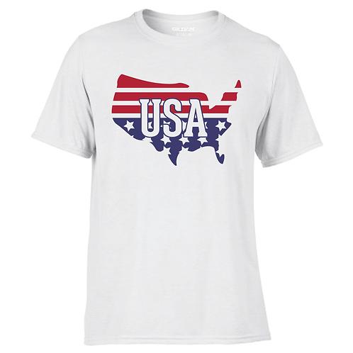 USA Map Cotton Feel Wicking Tee