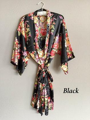 Robe Preto com Estampa Floral