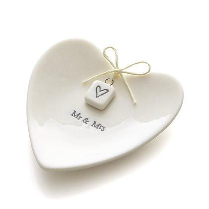 Porta-Alianças de Porcelana Mr. & Mrs.