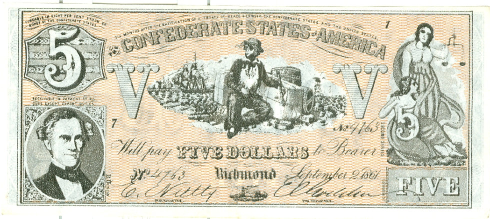 "1962 ""$5.00"" CONFEDERATE BANKNOTE PLAY MONEY"