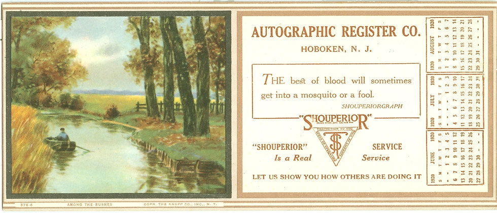1920 AUTOGRAPHIC REGISTER CO. INK BLOTTER CALENDAR