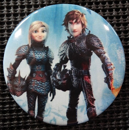 """""""ASTRID & HICCUP from HTTYD"""" POP CULTURE 3"""" PIN-BACK COLLECTOR COMIC BUTTON"""