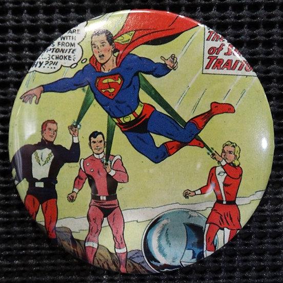 """SUPERMAN/LEGION of SUPERHEROES"" POP CULTURE 3"" PINBACK/PIN-BACK COMIC BUTTON"