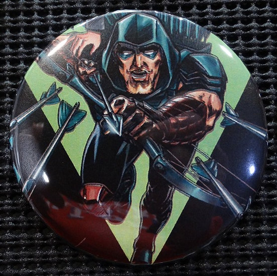 """GREEN ARROW/JLA"" POP CULTURE 3"" PINBACK/PIN-BACK COMIC BUTTON"