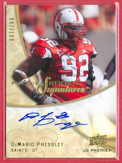 DeMario Pressley SP RC AUTO CHASE CARD #ed 047/199