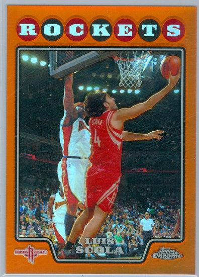 """Luis Scola"" SP ORANGE REFRACTOR CHASE CARD #d/499"