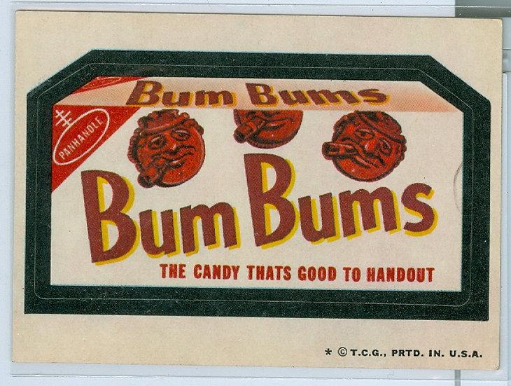 "1974 WACKY PACKAGES ""Bum Bums"" STICKER/TAN BACK"