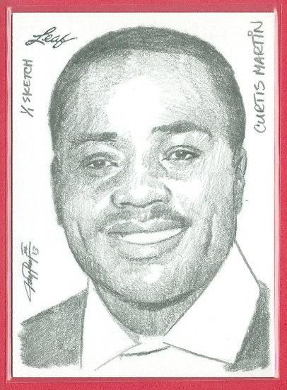 """""""Curtis Martin"""" LEAF 1/1 SKETCH ARTWORK CHASE CARD"""