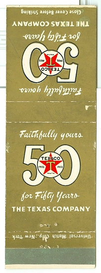 "RARE 1952 ""TEXACO"" 50 YEAR MATCHBOOK COVER AD"
