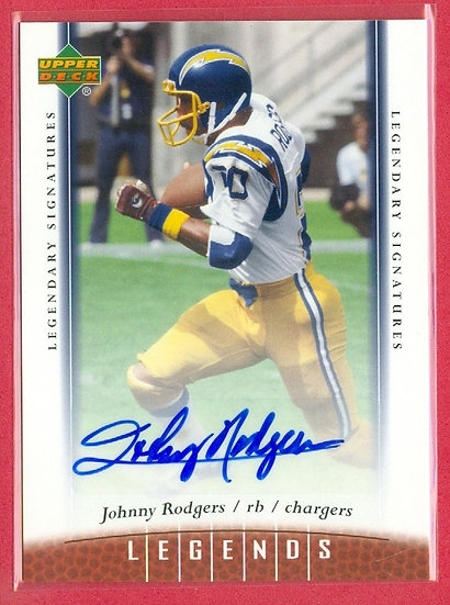 """""""Johnny Rodgers"""" LEGENDS AUTOGRAPH CHASE CARD #71"""