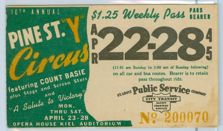 1945 ST. LOUIS CAR & BUS PASS TICKET #200070