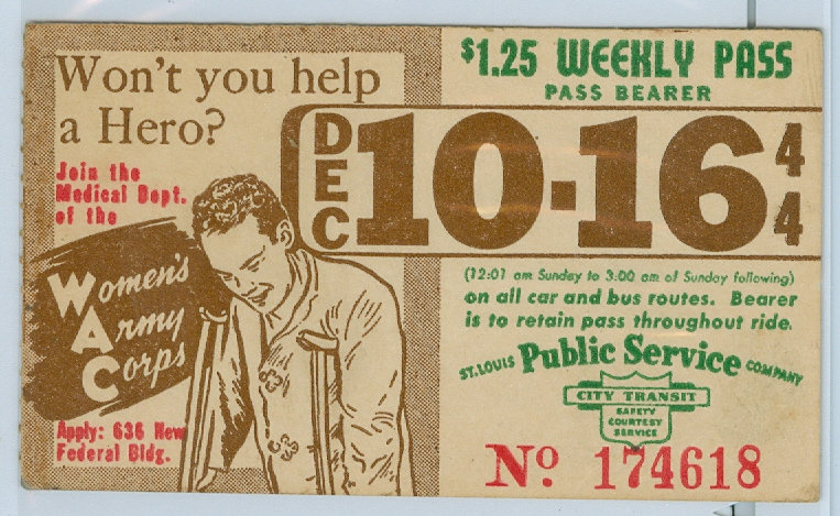 1944 ST. LOUIS CAR & BUS PASS TICKET #174618