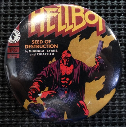 """HELLBOY"" POP CULTURE 3"" PINBACK/PIN-BACK COMIC BUTTON"